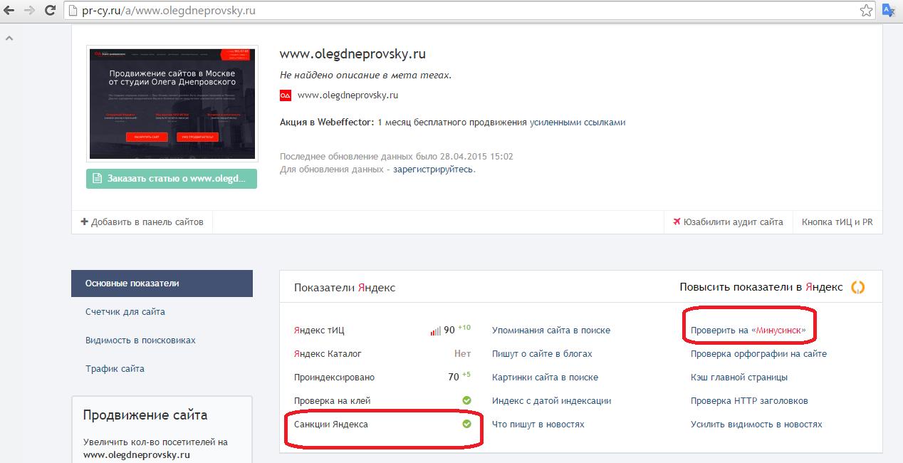 Проверка сайта на санкции от поисковых систем