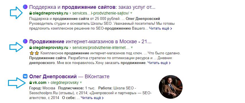 Выдача в Яндекс